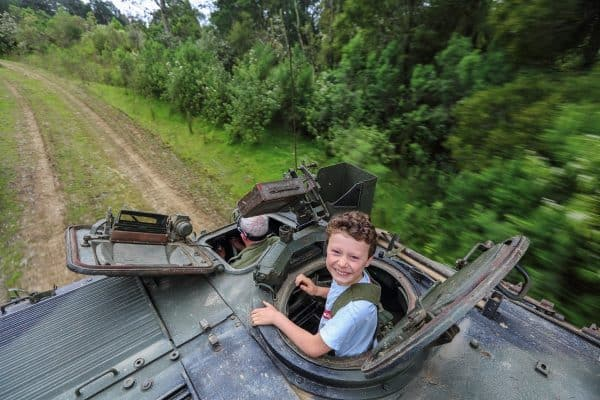 Kid on tank ride