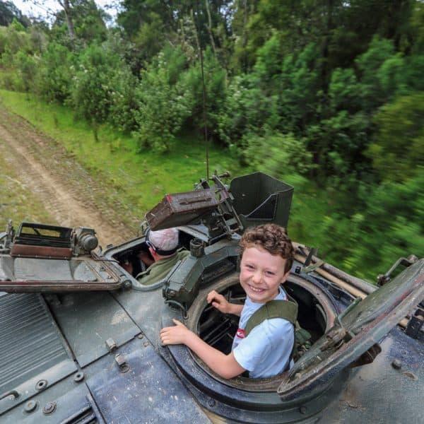 Kid on tank ride