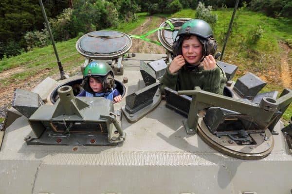 Kids in tank ride